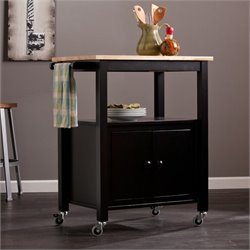 Pemberly Row Kitchen Cart in Black