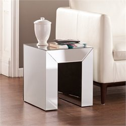Pemberly Row Mirrored Accent Table in Silver