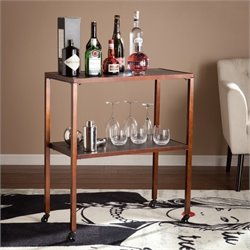 Pemberly Row Faux Crocodile Accent Bar Cart in Brass