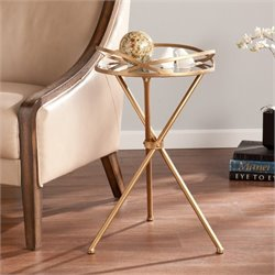 Pemberly Row Metal Mirrored Accent Table in Bronze