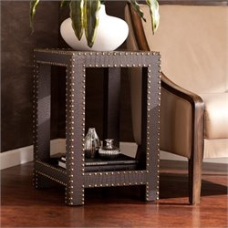 Pemberly Row Nailhead Accent Table in Brown