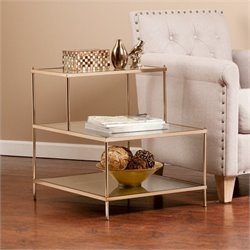 Pemberly Row Glass Stair Accent Table in Metallic Gold
