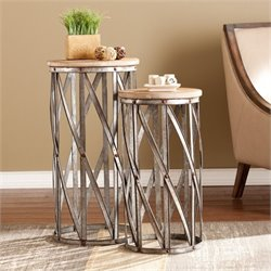 Pemberly Row 2 Piece Accent Table Set in Fir and Metal