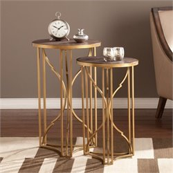 Pemberly Row 2 Piece Accent Nesting Table Set in Gold