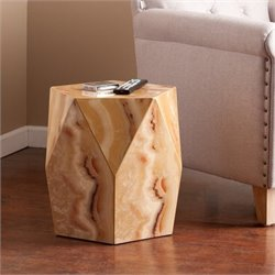 Pemberly Row Faux Stone Accent Table in Tan Marble