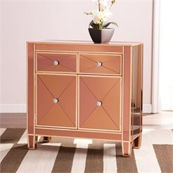 Pemberly Row Colored Mirrored Accent Cabinet in Bronze