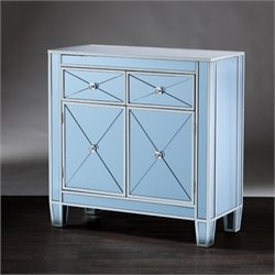Pemberly Row Colored Mirrored Accent Cabinet in Blue
