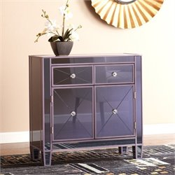 Pemberly Row Colored Mirrored Accent Cabinet in Purple