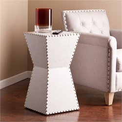 Pemberly Row Faux Leather Accent End Table in White
