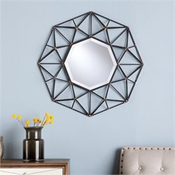 Pemberly Row Decorative Wall Mirror in Black and Gold