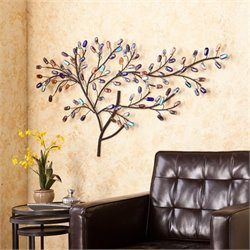 Pemberly Row Metal and Glass Tree Wall Sculpture