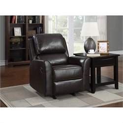 Pemberly Row Faux Leather Rocker Recliner in Brown