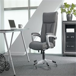 Pemberly Row Fabric Cool Foam Chair in Gray