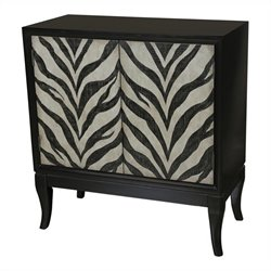 Pemberly Row Zebra Print Hall Accent Chest in Deep Black and White