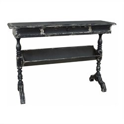 Pemberly Row Antique Console Table in Weathered Deep Gray