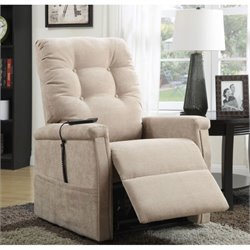 Pemberly Row Fabric Recliner in Beige