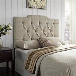 Pemberly Row Queen Tufted Panel Headboard in Tan