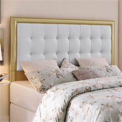 Pemberly Row Full Queen Upholstered Headboard in Gold