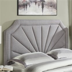 Pemberly Row Queen Upholstered Panel Headboard in Hayden Silver