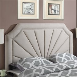 Pemberly Row Queen Upholstered Panel Headboard in Beige