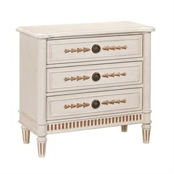 Pemberly Row Fluted 3 Drawer Chest in Soft White