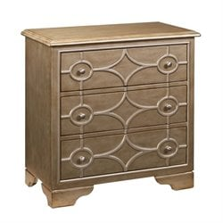Pemberly Row Diamond 3 Drawer Chest in Burnished Gold