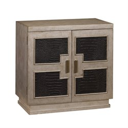Pemberly Row Geometric Panel Door Chest in Brown
