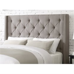 Pemberly Row Queen Upholstered Headboard in Ash