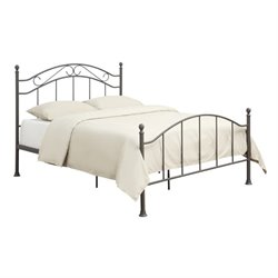 Pemberly Row Queen Scroll Metal Bed in Brown