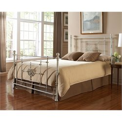 Pemberly Row Queen Metal Poster Bed in White