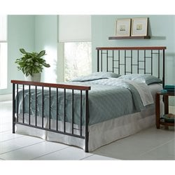 Pemberly Row Queen Metal Spindle Bed in Cherry