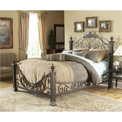 Pemberly Row King Metal Poster Bed in Gilded Slate
