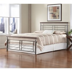 Pemberly Row Full Metal Bed in Silver and Cherry