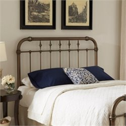 Pemberly Row Metal Headboard in Aged Gold