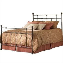 Pemberly Row Twin Metal Poster Bed in Hammered Brown