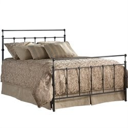 Pemberly Row Twin Metal Bed in Mahogany Gold
