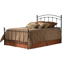 Pemberly Row Full Metal Poster Bed with Frame in Black Matte
