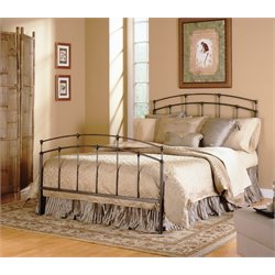 Pemberly Row Twin Metal Bed in Black Walnut