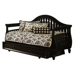 Pemberly Row Wood Daybed with Trundle in Distressed Black