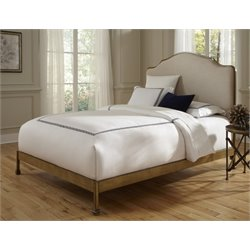 Pemberly Row Queen Metal Bed in Sand and Natural Oak
