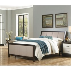 Pemberly Row Queen Panel Upholstered Bed in Espresso