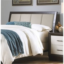 Pemberly Row Queen Panel Upholstered Headboard in Espresso