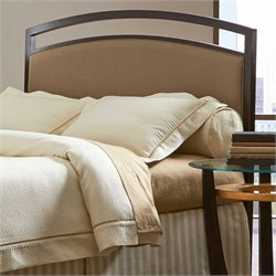 Pemberly Row Queen Metal Upholstered Headboard in Brown