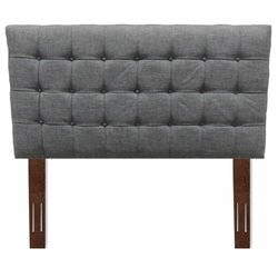 Pemberly Row Queen Wood Upholstered Headboard in Gray