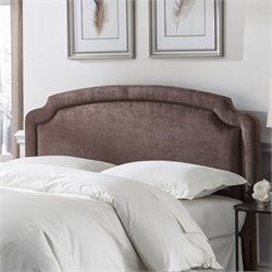 Pemberly Row Full Queen Upholstered Headboard in Pecan