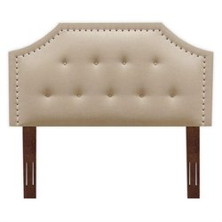 Pemberly Row Queen Wood Upholstered Headboard in Cream