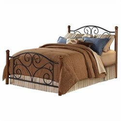 Pemberly Row California King Metal Poster Bed in Black and Walnut
