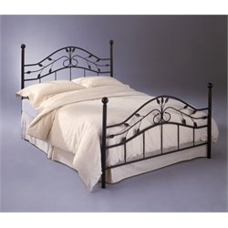 Pemberly Row Twin Metal Poster Bed in Hammered Copper