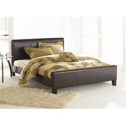 Pemberly Row Full Leather Platform Bed in Sable