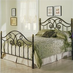 Pemberly Row Full Metal Poster Bed in Autumn Brown